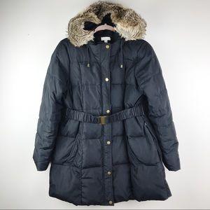 A Pea in the Pod Black Down Puffer Coat Faux Fur M
